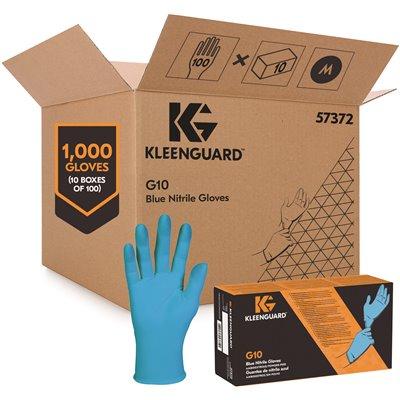 Kimberly Clark KleenGuard 57372 G10 Blue Nitrile Gloves Medium 100ct 6-mil NEW