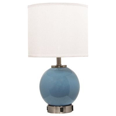 SLEEP 1 LIGHT DESK LAMP WITH OUTLET AND USB PORT, BLUE, 12 X