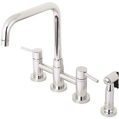 Kingston Brass Part Hks8281dlbs Kingston Brass Modern 2 Handle Bridge Kitchen Faucet With Side Sprayer In Chrome Two Handle Kitchen Faucets Home Depot Pro