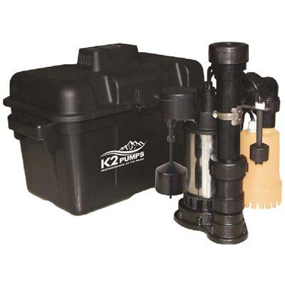 K2 Part Spc03301k K2 4000 Gph Compact Backup Sump Pump System Specialty Pumps Home Depot Pro