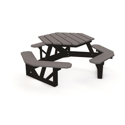 National Brand Alternative Part 289 1070 3 Hex 6 Ft Gray Recycled Plastic Picnic Table Picnic Tables Home Depot Pro