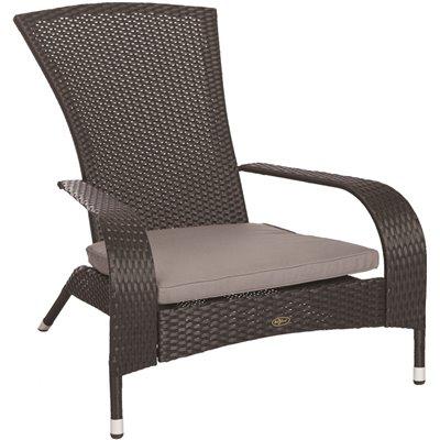 Patio Sense Part 62430 Patio Sense Coconino Black Wicker Plastic Adirondack Chair With Gray Cushion Patio Chairs Home Depot Pro