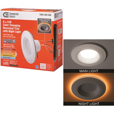 Commercial Electric Part 53804101 6 In Selectable Cct Integrated Led Recessed Light Trim With Night Light Feature 670 Lumens 11 Watt Dimmable Trim Home Depot Pro